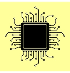 CPU Microprocessor Flat style chip icon vector image