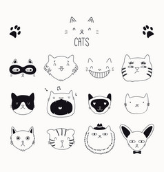 Cute cat black and white doodles set vector