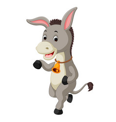 cute donkey cartoon waving hand vector image