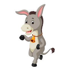 cute donkey cartoon waving hand vector image