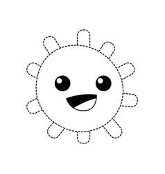 Dotted shape happy sun with lights ray kawaii vector