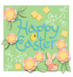 easter card with paper cut egg shape frame with vector image