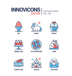 easter - modern line design style icons set vector image