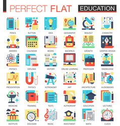education complex flat icon concept symbols vector image