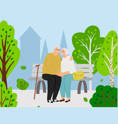 elderly couple in city park vector image