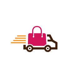 fast shipping truck shipping bag logo vector image