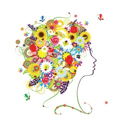 Female profile floral hairstyle for your design vector