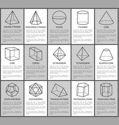 Figures set sphere and cone cube and cuboid vector