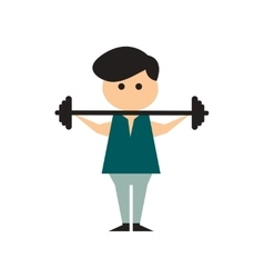 Flat web icon on white background man barbell vector