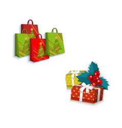 flat winter holiday symbols objects set vector image