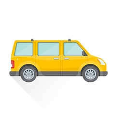 Flat yellow van car body style icon vector