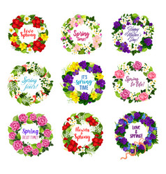 flower wreath for mother day holiday greeting card vector image