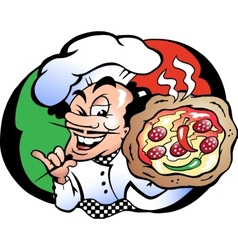 Hand-drawn of an italien pizza baker vector