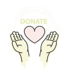 Hands hold heart - charity donation and help vector