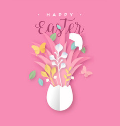 Happy easter paper cut card spring papercraft egg vector