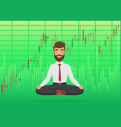 Happy man trader meditating under rising crypto or vector