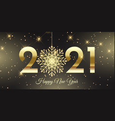 Happy new year banner with glittery snowflake vector