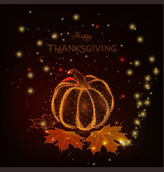 Happy thanksgiving greeting card with glowing low vector
