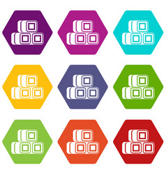 hay bundles icon set color hexahedron vector image