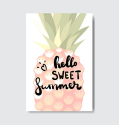 hello summer pineapple badge isolated typographic vector image