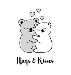 Hugs and kisses hand drawn greeting card vector