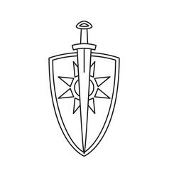 line art black and white sword shield vector image