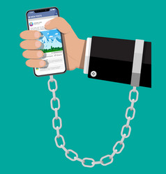 mans hand chained and shackled to smart phone vector image