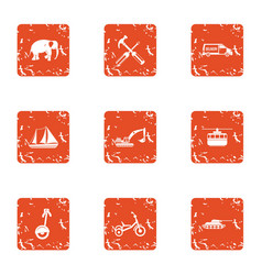mean of transportation icons set grunge style vector image