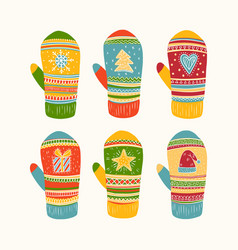 Mittens colorful collection vector