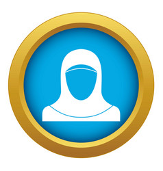 muslim women wearing hijab icon blue vector image