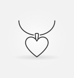 Necklace with heart line icon or design vector