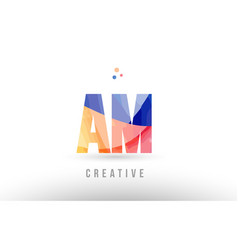 Orange blue alphabet letter am a m logo icon vector