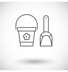 Pail and shovel icon vector