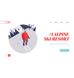 people skiing website landing page man skier vector image