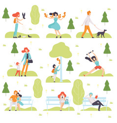 people walking doing sports relaxing in park vector image