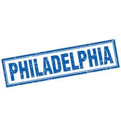 Philadelphia blue square grunge stamp on white vector