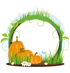 Pumpkins with leaves flowers and butterflies vector image