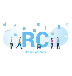 rc retail company concept with big word or text vector image