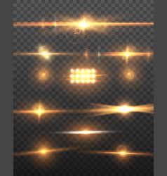Realistic camera lens flare set vector
