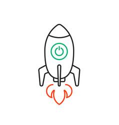 rocketship launch thin line logo vector image