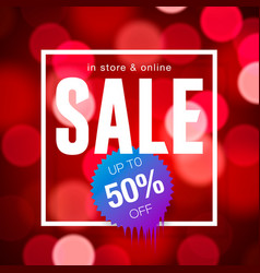 Sale banner design red blurred background vector