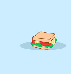 sandwich with cheese and fresh vegetables tasty vector image