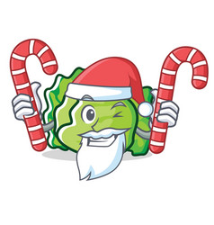 Santa with candy lettuce character mascot style vector