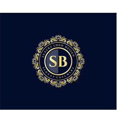 Sb initial letter gold calligraphic feminine vector