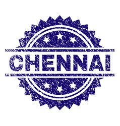 Scratched textured chennai stamp seal vector