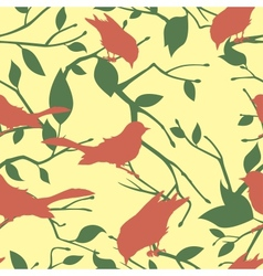 Seamless pattern with birds and tree branches vector image vector image