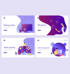 set landing page templates video gaming vector image