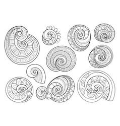 set monochrome contour floral doodles vector image