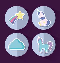 set of cute unicorns fairy tale vector image