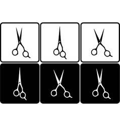 Set of isolated black and white scissors vector